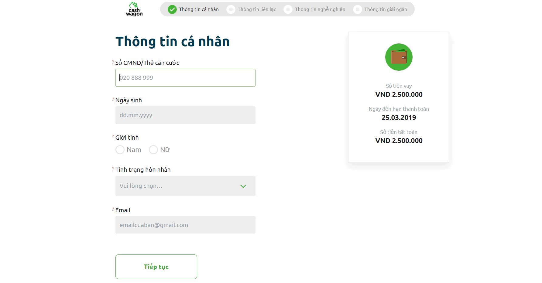 Chi tiết quy trình vay tiền online Cashwagon.