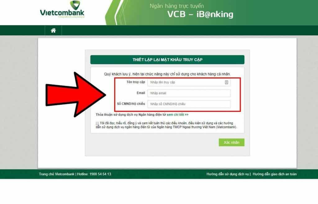 lấy lại mật khẩu internet banking Vietcombank ảnh 2