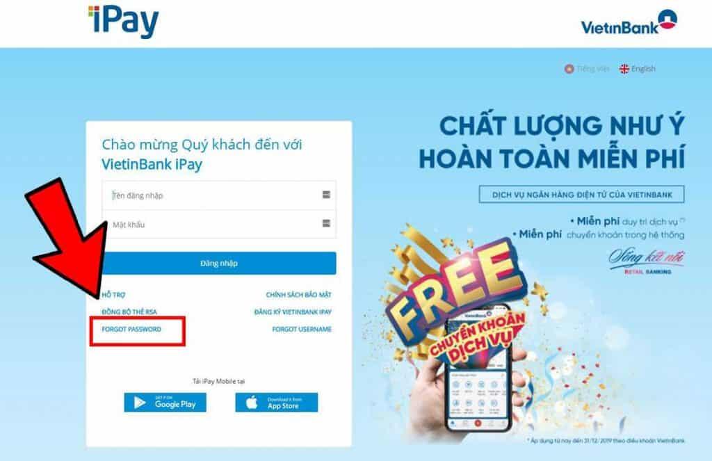 đăng nhập ipay vietinbank