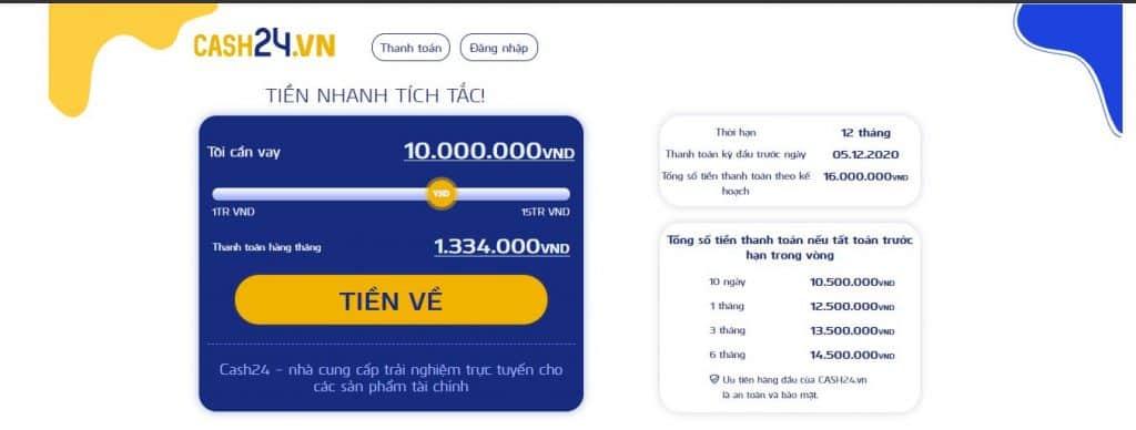 App vay tiền mới dễ vay Cash24.