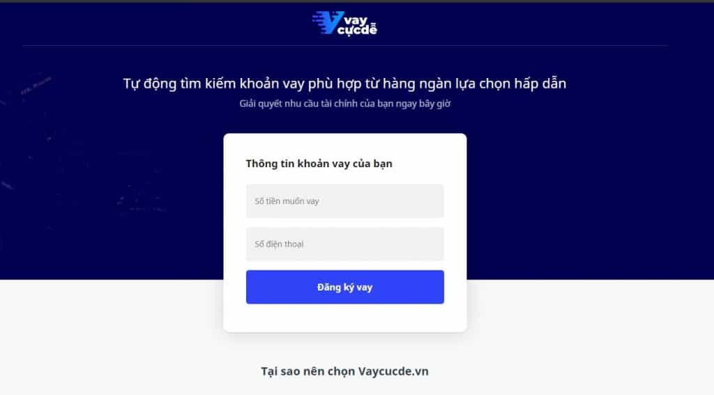 Ứng dụng vay tiền online mới VayCucDe